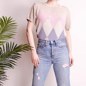 Vintage 90s argyle knit short sleeve sweater